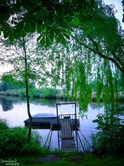 Peaceful place (JaroslawG) Tags: bridge trees green water photoshop photography evening boat colourful colorcorrection lightroom jaroslawg