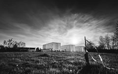 Ribbon. (sherifx) Tags: sunset blackandwhite field sonnenuntergang lawn flats gras ribbon block freiburg ultrawide hdr multiexposure uww barriertape universityoffreiburg sigma1020f456 nikond7200