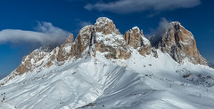 The Sassolungo with blue skies (Stewart Miller Photography) Tags: new old trip travel blue winter light red italy white snow news black color colour green art me colors yellow canon geotagged fun photo europe day colours skiing rt android dolomites bts hoya 6d sassolungo ef24105mm