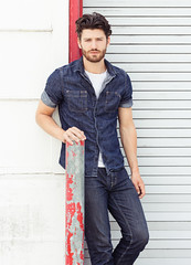 Photo Shoot : Sam (jkc.photos) Tags: male fashion model denim casual tee