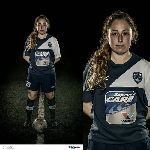 A darker treatment in Lightroom CC for the alternate uniform.   Darby FC soccer portraits with @broncolor para 133HR front centre, Siros 800S with stripboxes behind each side. Nikon D810 with Tamron 24-70 VC. 1/250s at f/8 ISO 64  #broncolor #nikon #tamro