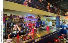 Is My Hair OK? - Lester Ds (jwvraets) Tags: bar counterwoman hair movies hollywood diner posters classic stcatharines lesterds wideangle opensource rawtherapee gimp nikon d7100 nikkor1224mm