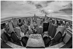 "View of south Manhattan from Rockefellers ""top of the rocks"" with fish eye (JORGE_DIVE) Tags: topoftherocks empirestate manhattan nyc bw"