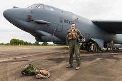 USAF B-52H Pilot with aircraft and survival gear (Sam Wise) Tags: bomber usaf raf fairford stratofortress b52h