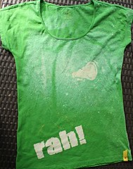 cheer shirt (saucy dragonfly) Tags: camp green altered design diy blog stencil handmade bleach craft homemade theme cheer cheerleading dye cheerios teeshirt tutorial saucy megaphone campwear saucyssprinkles
