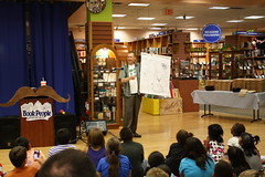 Tom Angleberger - Fake Mustache - 4/18/12 (BookPeople) Tags: austin abrams bookpeople fakemustache tomangleberger