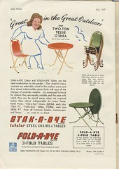 "Sebel Products ""Stak-a-bye"" tubular steel furniture - ""Great in the great outdoors"" says Two-Ton Tessie O'Shea - advert, 1947 (mikeyashworth) Tags: advert 1947 sebel sebelfurniture tessieoshea stakabye foldabye mikeashworthcollection"