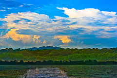 Dreamy Lake !!! (Rambonp love's all) Tags: blue trees sky india lake mountains reflection green bird water silhouette yellow clouds canon landscape hdr chandigarh sukhnalake canoneos1000d