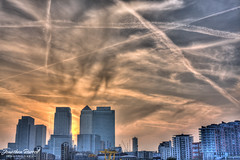 Flight path's (Jonathan.Russell) Tags: sunset sky cloud sun london lines set canon buildings contrail russell jonathan air flight oxygen wharf paths canary economic success hsbc hdr fuel watermark barclays economical 40d jonooter