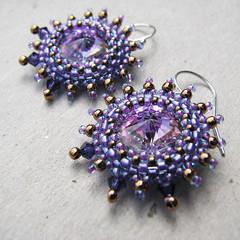 Purple Crystal Earrings, Peyote Bezel, Sterling Silver (Sylvia Windhurst) Tags: pink silver gold purple crystal earring lavender beadweaving picot peyotestitch ebw beadedbead beadedbezel