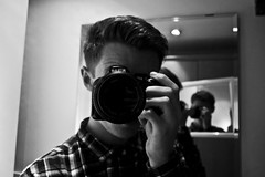 Shooting myself. (Shooting Sam) Tags: boy portrait blackandwhite selfportrait man reflection male lines composition self photography mirror bedroom birmingham nikon room illusion tones