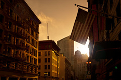 the streets of San Francisco (Andy Kennelly) Tags: california city morning light streets lamp architecture buildings fire golden san francisco glow escape flag american
