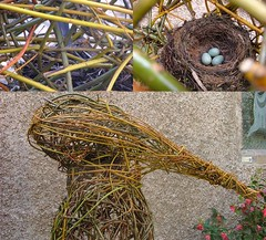 black bird nest inside head (Mark and Rebecca Ford Art Sculpture) Tags: sculpture art countryside pond pod arch nest westsussex seat willow eggs archway woven blackbird landart chichester blueeggs ecoart livingwillow countryparks southdownsnationalpark april2012oxmarket