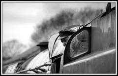 Steam machine (The Old Brit) Tags: old monochrome mono blackwhite candid transport trains nostalgia railwaystation transportation dorset railways swanage traindriver steamtrain stations enginedriver steamengines eddystone swanagerailway westcountryclass steamage no34028 steantrain bulliedpacific locomotiove peakcappeakedcap southernlocomotiveltd