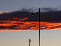 Street lights at sunset (Home Land & Sea) Tags: sunset newzealand sky cloud streetlights nz napier sonycybershot hawkesbay explored homelandsea dschx100v