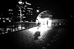 undecided (reinetor) Tags: street travel bridge light shadow people bw station japan night drunk lens eos prime back asia image little footbridge f14 wide pedestrian sake transit 5d osaka behind 24mm umeda strolling   ef24  ef24f14
