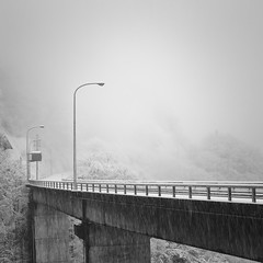 bridge in snow, Gifu (StephenCairns) Tags: bridge winter blackandwhite bw storm japan canon snowstorm  gifu   ono  motosu   stephencairns  canon5dmarkii ibigawacho