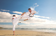 Men practicing Karate on the beach (Atlas_Fliker) Tags: ocean sea summer judo white man male men beach nature water sport clouds training pose southafrica outdoors coast fight team sand uniform fighter exercise cloudy kick muscle sunny bluesky martialarts taekwondo karate warrior strong block kata practice fitness taichi sensei active blackbelt caucasian handtohandcombat