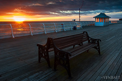 Cromer - Empty Benches in Cromer Pier at Sunset (Yen Baet) Tags: city uk greatbritain travel sunset england seascape beach nature water architecture night photography coast photo twilight europe european waterfront unitedkingdom britain dusk norfolk scenic coastline british seafront cromer cromerpier britons pleasurepier yenbaet
