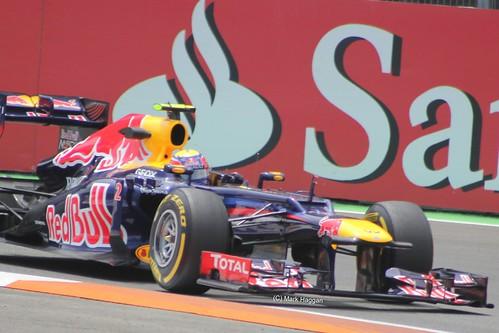 Mark Webber in his Red Bull Racing F1 car at the 2012 European Grand Prix in Valencia