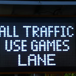 UK Traffic Sign: All Traffic Use Games Lane
