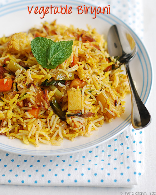 Vegetable biryani recipe (Indian layered vegetable biryani) - Raks ...