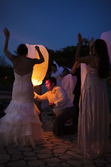 Flying Lanterns (radville) Tags: ocean travel wedding vacation water bag hotel karen celebration oceanside jamaica tropical 5d erik rockhouse negril montego oceanfront jamacia