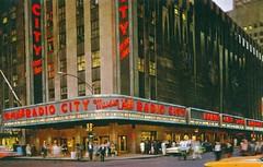 Radio City Music Hall New York NY (Edge and corner wear) Tags: show new york ny film sign vintage pc neon stage postcard center chrome rockefeller mills haley