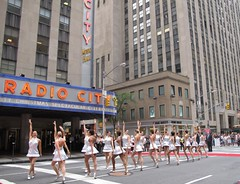 Christmas in August. The Rockettes performing on Sixth Avenue, NYC. (AndrewDallos) Tags: nyc newyorkcity manhattan radiocitymusichall rockettes