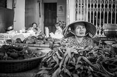 Want some vegetables? (YuJin Lim) Tags: bw vegetables hats vietnam oldlady danang hanmarket