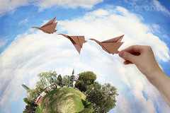 Byzantine Side of Toronto Planet. August Geese in Origami Flight (Katrin Ray) Tags: blue trees homes light sky toronto ontario canada green grass june clouds photoshop paper design origami sunny textures digiart greektown toyland broadviewavenue riverdalepark riverdale polarcoordinates  origamibird littleplanet holyeucharistukrainiancatholicchurch oriland texturebyme orilandcom dreamscapesoftoronto katrinray torontopostcard katrinrayakakatrinshumakov texturebydogmathankyou miniaturestyle digimagic toyrontolife planetization origamibykatrinyurishumakov byzantinesideoftorontoplanet augustgeeseinorigamiflight origamicanadagoose foldedfromapapersquarewithoutglueofcutting