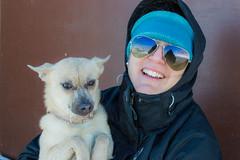 Winter in Laramie! (bflinch1) Tags: winter portrait dog pet cold smile nikon wind january freezing windy sunny hike wife blowingsnow raybans nikond3200 vedauwoo melyssa vedauwoowyoming