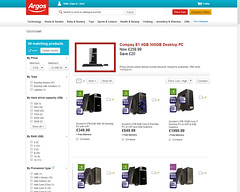 Product Photography on Argos' website.