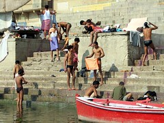 india (gerben more) Tags: shirtless india boat varanasi ritual washing ganges benares ghat youngmen ritualbathing