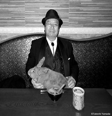 Dr. Takeshi Yamada and Seara (Coney Island Sea Rabbit) at the Shinjuku Japanese Restaurant (Beffet) in Brooklyn, NY on April 28, 2016.  20160428Thu DSCN5146=CBW.. Shinjuku Japanese Buffet (searabbits23) Tags: ny newyork sexy celebrity rabbit art hat fashion animal brooklyn sushi asian coneyisland japanese star restaurant tv google king artist dragon god manhattan famous gothic goth uma ufo pop taxidermy vogue cnn tuxedo bikini tophat unitednations playboy entertainer oddities genius mermaid amc mardigras salvadordali performer unicorn billclinton seamonster billgates aol vangogh curiosities sideshow jeffkoons globalwarming mart magician takashimurakami pablopicasso steampunk damienhirst cryptozoology freakshow seara immortalized takeshiyamada roguetaxidermy searabbit barrackobama ladygaga climategate  manwithrabbit