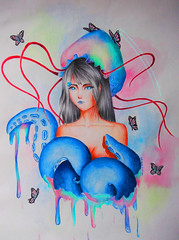 No Name (CarlaRibeiroArt) Tags: illustration watercolor drawing surrealism traditionalart butterflies octopus kaori coloredpencil popsurrealism kaorichan