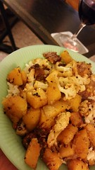 it was...sorta Indian. (carbonated) Tags: cooking rice indian vegetarian cauliflower butternut tempeh sortof jadeite