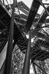 Escher`s dream ([AUT]side) Tags: wood bw white black tower nature metal stairs construction