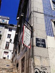 Linen Warehouse Alley, Lisbon, Portugal (okaystephanie) Tags: travel urban streetart portugal stairs alley lisboa lisbon tiles signage streetsigns portuguese azulejos alleyways becodoarmazensdolinho