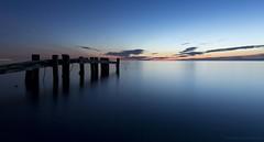 Blue Light (martinaschneider) Tags: longexposure sky lake ontario beach water clouds sunrise pier bluehour lakeontario fiftypoint