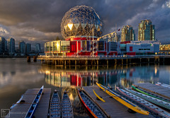 Science World Sunset (Basic Elements Photography) Tags: world sunset sunlight canada color reflection vancouver clouds canon boat downtown dof bc dynamic science 7d vancouverbc hdr highdynamicrange coalharbour sunray scienceworld britishcolombia 1635mm falscreek eflens telusscienceworld