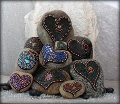 Newest crop of Mosaic Rock Art / Garden Stones and Paperweights (Chris Emmert) Tags: chris red black green rock