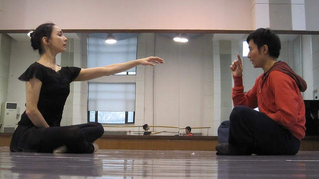 "Tamara and Fei rehearse their Fusion Journey collaborative dance Life is a Dream, about a philosopher who wakes from a dream unsure of what reality is. <a href=""http://www.roh.org.uk/news/tamara-rojo-fuses-east-and-west-in-new-tv-series"" rel=""nofollow"">www.roh.org.uk/news/tamara-rojo-fuses-east-and-west-in-ne...</a> Photo by CNN International / Fusion Journeys"