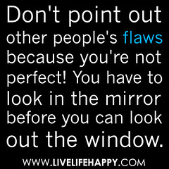 """Don't point out other people's flaws because ..."