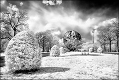 REALLY Cool World (Mike Orso) Tags: world park nyc newyorkcity trees sky blackandwhite ny newyork fountain monochrome statue clouds print landscape ir photography globe scenery gallery image cloudy fineart scenic lon