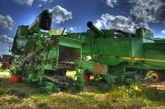 Salvage yard with a showroom shine (Images by MK) Tags: green wisconsin canon parts farming harvest combine jd salvage hdr harvester johndeere evansville photomatix t2i evansvillewi