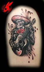 Day of the Dead Tattoo by jackie Rabbit (Jackie rabbit Tattoos) Tags: city tattoo dead skull star virginia cool colorful day guitar good awesome great mexican roanoke va skelleton jackierabbit