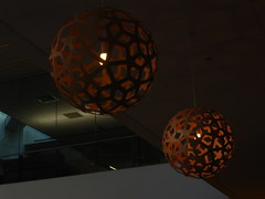 Lights at Wishbone (LadyBiosphere) Tags: newzealand brown color colour lightbulb lights ceiling newtown sonycybershot 2012 wishbone wellingtonhospital geometricshape  ladybiosphere