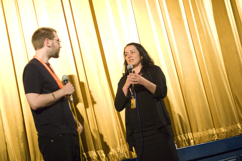 Director Alex Barrett and EIFF's Diane Henderson at screening of Life Just Is