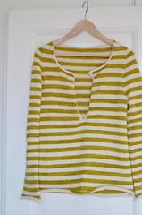 Not blocked or buttoned (osloann) Tags: knitting stripes topdown jersey fo striper strikking bugga skinnybugga ovenfraogned